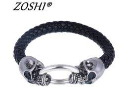 Zilver Rvs Schedel Armbanden Weave lederen armband & Bangle Punk sieraden Groothandel Armbanden Voor Man Vrouw <br />  ZOSHI