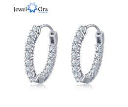 Trendy 925 Sterling Zilveren Oorringen Voor Vrouwen Zirconia SteenMode-sieradenVoor Meisje (JewelOra EA101739) <br />  jewelora