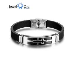 200mm Cross PU Lederen Rvs Mannen Armband Mode-sieraden Armbanden &amp; BanglesVoor Vaders (JewelOra BA101593) <br />  jewelora