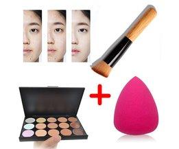 15 Kleuren Contour Face Cream Make Concealer Palette + Spons Bladerdeeg Poeder Borstel M01934 <br />  LEARNEVER