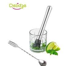Delidge 2 stks/set Cocktail Picks Rvs Cocktail Mixer Drinken Barman Wijn Martini Mixer Pick + Lepel + Vork Cocktail <br />  delidge