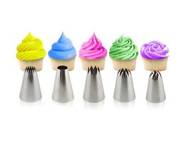 5 stks Grote Gebak Tips Cake Decorating Gereedschap Set Crème Nozzle Icing Piping Bakvormen Sugarcraft <br />  BAKMAS