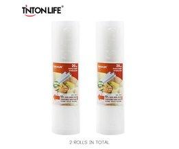 TINTON LEVEN 20 cm * 500 cm 2 Rolls/set Vacuumsealer Opbergzakken Grade voor Sous Vide en Foodsaver  <br />  <br />  TINTON LIFE
