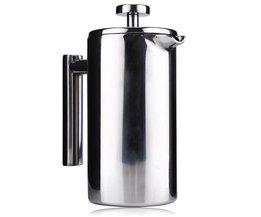 1000 ML Rvs Franse Koffiekan met Filter Permanente Koffie Filter Manden Espresso Koffiezetapparaat Dubbele Muur Koffiepot <br />  MyXL