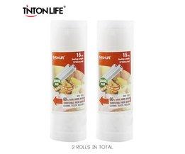 TINTON LEVEN 15 cm * 500 cm 2 Rolls/set Vacuumsealer Opbergzakken Grade voor Sous Vide en Foodsaver <br />  TINTON LIFE