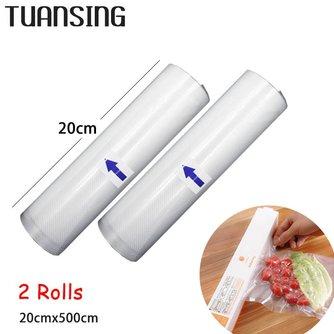 2 Rolls/Lot 20 cm x 500 cm Vacuüm Sealmachine Voedsel Saver Tassen voedsel Fruit Opbergzakken Saran Wrap voor Vacuüm Voedsel Sealer Machine <br />  TUANSING