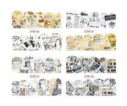 12 OntwerpenRetro Ontwerp WaterNail Sticker Water Decals Slider Bloem Tattoos DIY Volledige Cover Wraps Gereedschap JIBN565-576 <br />  Ji Ji Trendy Nail