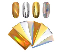 8 Stks Laser Starry Nail Folies Holografische Goud Zilver Nail Stickers Papier Decals Manicure Nail Art Decoraties 4*10 cm <br />  Born Pretty