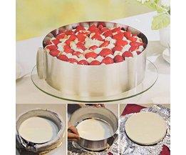 Intrekbare Roestvrijstalen Cirkel Mousse Ring Bakken Tool Set Cakevorm Size Verstelbare Bakvormen 16-30 cm voor Cake Maken <br />  Finether