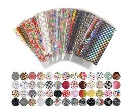 52 Vel 20 cm * 4 cm Mix Kleur Overdracht Folie Nail Art Bloem Ontwerp Sticker Decal Voor Polish Zorg DIYNail Art WY209  <br />  <br />  ELESSICAL