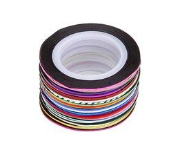 30 Stks 2 m Gemengde Kleuren Rolls Striping Tape Line Nail Art Decoratie Sticker DIY Decals <br />  Maange