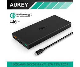 16000 mAh Quick Charge 3.0 Power Bank Dual Poort Met LED AiPower Draagbare Externe Batterij voor Xiaomi mi5 iPhone Samsung <br />  AUKEY