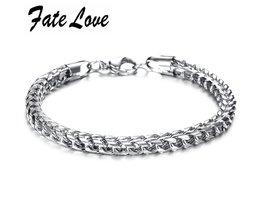Fate Liefde Mode-sieraden Rvs Titanium Zilveren Kettingen Mannen Bangle Armband Mannelijke Charme Dikke Polsband Armband FL672 <br />  Fate Love