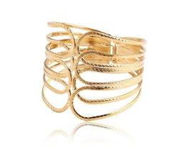 17 KMOntwerp Goud Kleur Lichtmetalen Eenvoudige Holle Uit Brede Armband Sieraden Brede Armband & Bangles Voor Vrouwen <br />  17KM