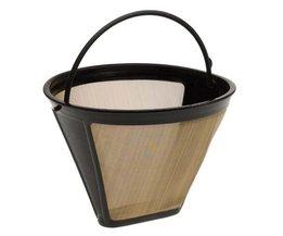 Herbruikbare Koffie Filter 10-12 Cup Permanente Kegel-Stijl Koffiezetapparaat 1634 Machine Filter Gold Mesh Met Handvat Cafe Coffees Tool <br />  DesertCreations