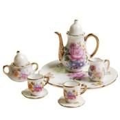 8 stks 1/6 Poppenhuis Miniatuur Eetkamer Ware Porseleinen Schotel/Cup/Plaat Thee Set --- Roze Rose <br />  MyXL