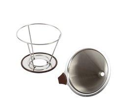 Rvs Cone Koffie Filter Druppelaar Dubbele Laag Mesh Koffie Cone Filter Houder Infuse Home Keuken Koffie Maken Gereedschap <br />  TOPINCN