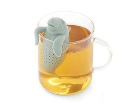 Manatee vorm siliconen filter, Mode Siliconen Zeeleeuw Theezeefje, thee-ei draagbare thee gereedschap keuken accessoires <br />  HappyHope