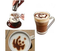 Beste Prijs 16 Stks Mold Koffie Melk Cake Cupcake Stencil Template Koffie Barista Cappuccino Template Strooi Pad Duster Spray Gereedschap <br />  YKPuii