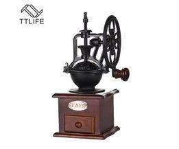 Classic Handkoffiemolen Met Keramische Beweging Retro Houten Koffie Molen Koffieboon Grinder <br />  TTLIFE