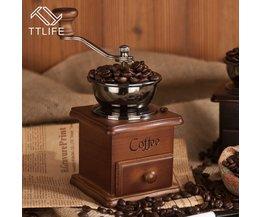 Klassieke Houten Mini Handkoffiemolen Rvs Retro Koffie Spice Mill Met Hoogwaardige Porselein Beweging <br />  TTLIFE