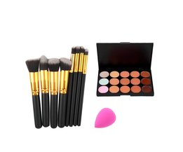 15 Kleur Concealer Palette + 8 stks Make Up Borstels Kit + spons Bladerdeeg Make Contour Palette Facial beauty make<br />  YKS