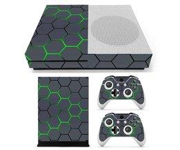 Vinyl decal skin sticker groene geometrie geschilderd ontwerp voor xbox one s gaming console 2 controller beschermende decal cover <br />  ShirLin