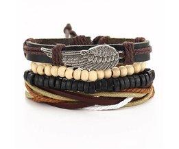 17 KM Punk Turkse Wing Armbanden voor Vrouwen Mannen Kralen Polsband Manchet Lederen Armband Etnische Vintage Sieraden Bijouterie <br />  MyXL