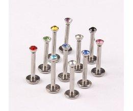 Piercing nombril nikkelvrij mix 10 kleur 10 stks/partij rvs intern schroefdraad lichaam sieraden lip piercing labret ring <br />  JunlowPY