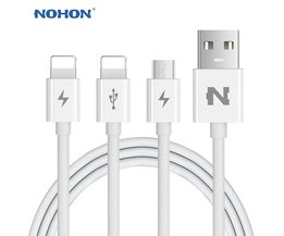 Originele  3 IN 1 8Pin Micro Usb-kabel Voor Apple iPhone 7 6 6 S Plus 5 5 S SE iPad 4 Air 2 3-in-1 USB Snelle Opladen Kabels <br />  Nohon