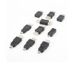 10 stks/set USB OTG Adapter Connector 5Pin Changer Adapter Converter USB Man-vrouw Micro USB Mini USB Adapter Converter <br />  ZUCZUG