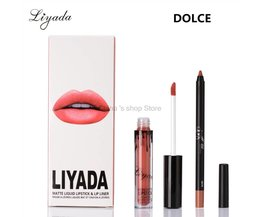 Matte Vloeibare lipstick make up lip kit + Lip Liner potlood mate Waterdichte Langdurige kilie lippenstift 16 stks/8 set <br />  LIYADA