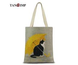 Tangimp leuke cat paraplu carry-alle natuurlijke katoen handtassen vrouwen milieuvriendelijke diy boodschappen tote laptop strand tassen <br />  TANGIMP