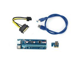 Blue PCI-E PCI E Express 1X to 16X Riser Card +USB 3.0 Extender Cable SATA 15 Pin-6Pin Power Cable 60CM for bitcoin mining L3FE <br />  ALLOYSEED