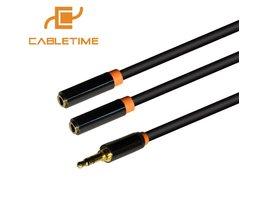 Cabletime Audiokabel Jack 3.5mm Aux Kabel 1 Man 2 Vrouwelijke Hoofdtelefoon Verlengkabel voor CarPlayer Tablet Adapter Laptop N073 <br />  CABLETIMES