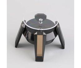 Zwarte Zonne-energie 360 Roterende Sieraden Horloge Mobiel Display Stand Draaitafel nuttig <br />  OXA