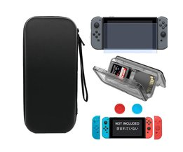 Reizen Beschermende Harde Tas Shell + Silicone Case + Grips Caps + Card Case + Gehard Glas Film voor Nintendo Switch Console & Controller <br />  LINGHUANG