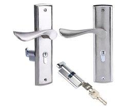 Duurzaam Deurklink Slot Cilinder Front Back Hendel Klink Home Security met Sleutels Zilveren Aluminium Deurslot Set Veilig  <br />  <br />  WALFRONT