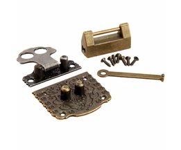 2 stks chinese messing hardware vintage brons houten box kast toggle klink hasp + antieke chinese oude lock meubels accessoires <br />  DRELD