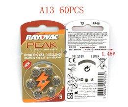60 STKSZink Air 1.45 V Rayovac Piek Gehoorapparaat Batterijen A13 13A 13 P13 PR48 Gehoorapparaat Batterij Voor gehoorapparaten <br />  RAYOVAC