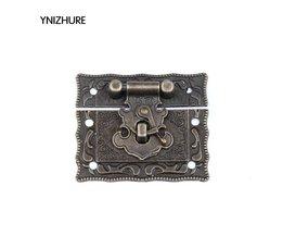 10 Sets Antiek Messing Metalen Haak Purse Hasp Lock Vintage Houten Sieraden Doos Vergrendelingen Sluiting Hasps Gesp 43*51mm<br />  YNIZHURE