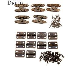 5 stks antieke bronzen sieraden houten box case toggle hasp klink + 10 stks kabinet scharnieren ijzer vintage hardware meubels accessoires <br />  DRELD