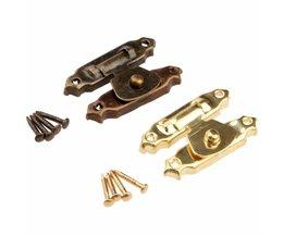 5 Stks Antiek Brons/Gouden Doos Hasps Lade Vergrendelingen Decoratieve Messing Koffers Hasp Klink Haak w/Schroeven Meubels Hardware 26x15mm <br />  DRELD