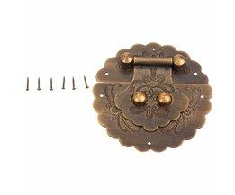 Antieke Chinese Meubelen Hardware Messing Kofferbak Handvat Lock Hasp Sieraden Houten Doos Vergrendeling Gesp Hasp Lock Klink voor Meubels <br />  DRELD