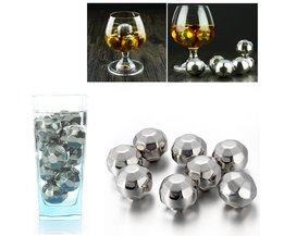 8 Stks/partij cooling stones Whisky Wijn Stenen Roestvrij voetbal Rock Ijsblokje Speksteen Glacier Cooler champagne cooler