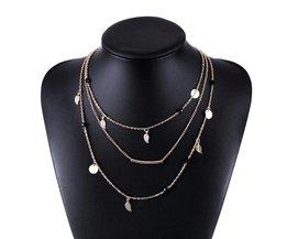 goud zilver ketting kralen bladeren hanger ketting mode-sieraden multi layer kettingen voor vrouwen Collier femme accessoires