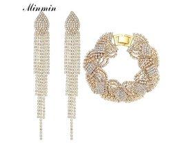 Minmin Goud Kleur Sieraden Sets Crystal Armband Oorbellen Sieraden Accessoires Afrikaanse Kralen Sieraden voor Vrouwen EH360 + SL076