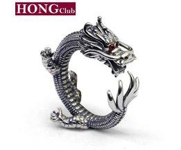 Mode 100% Echte 925 Sterling Zilveren Ring Draak Dames Engagement Duim Ring Mannen Vrouwen mode-sieradenGR40