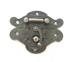 Sieraden Houten Case Box Lock, Hardware Antieke Brons Hasp Sloten, 66mm * 52mm