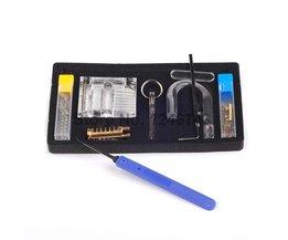 Transparante Zichtbaar Pick Cutaway Praktijk Hangslot Lock Met Gebroken Sleutel Verwijderen Haken Lock Kit Extractor Set Slotenmaker Tool
